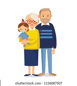 Grandparents with grandchild. Vector illustration. Flat design.