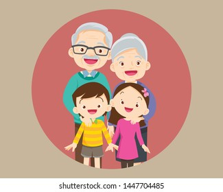 grandparents and grandchildren. Group of people standing. Little boy, teenager girl,grandparents hugging with kids