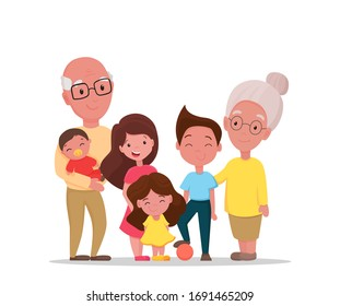 Grandparents and grandchildren. Happy grandfather and grandmother with their grandson and granddaughters stay at home isolated on white background. Vector flat illustration