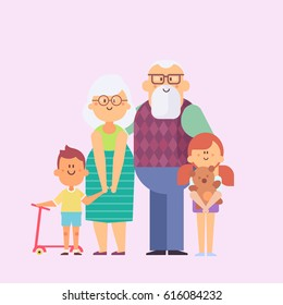 Grandparents and grandchildren. Happy grandparents with their grandchildren taking a walk. Grandparents' Day. Vector set of characters in a flat style good for animation.