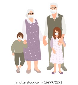 Grandparents  with grandchildren. Multi-generation family  together. People in safety masks stop the spread of viruses. Vector illustration in cartoon style, isolated on white background