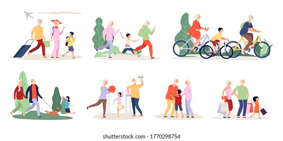 Grandparents and grandchildren. Old people activity with boy girl. Travel ride bicycle doing sport exercices vector illustration