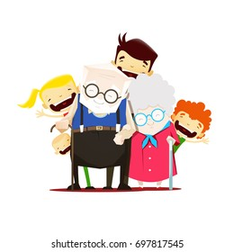 Grandparents with grandchildren standing together. Grandparents day illustration.