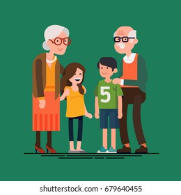 Grandparents with grandchildren vector flat design illustration. Relatives standing together. Grandmother, grandfather and siblings. Happy family characters