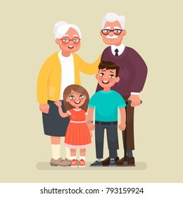 Grandparents with grandchildren. Vector illustration in cartoon style