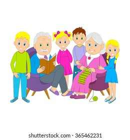grandparents and grandchildren,illustration,vector