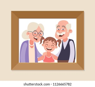 Grandparents and granddaughter framed photo. Grandparents day celebration. Happy grandparents and girl. Vector illustration in cartoon style.