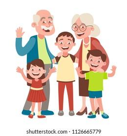 Retrato de abuelos, nietos y dos nietos. Feliz concepto del día de los abuelos. Ilustración vectorial en estilo caricatura, aislada en fondo blanco.