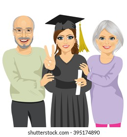 grandparents proud and happy of granddaughter holding diploma on graduation ceremony day