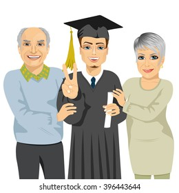 grandparents proud and happy of grandson holding diploma on graduation ceremony day