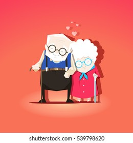 Grandparents are together forever in love. Stock vector Valentine's Day concept illustration