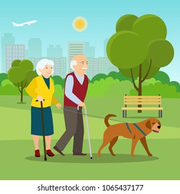 Grandparents together on walk with dog  at park in summer. Vector flat style illustration.