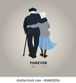 Grandparents. Vector illustration in cartoon style. Grandparents Day. Grandparents couple in love