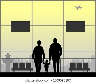 Grandparents are walking with their grandchild as they wait for the flight to the airport, one in the series of similar images silhouette