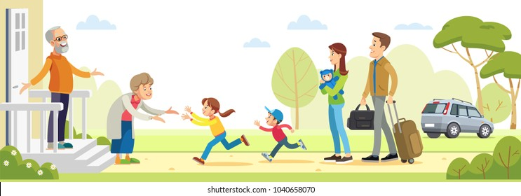 Grandparents welcoming grandchildren. Happy big family  together. vector flat illustration