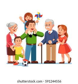 Grandparents, young parents and children standing together. Little daughter sitting on father shoulders. Grandma embracing grand son. Generations & family love. Flat style vector illustration.