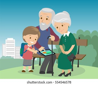 Grandson boy teach grandparents use tablet pc. Seniors elderly learning education modern technology internet computer in the city park bench grandfather grandmother son vector illustration cartoon