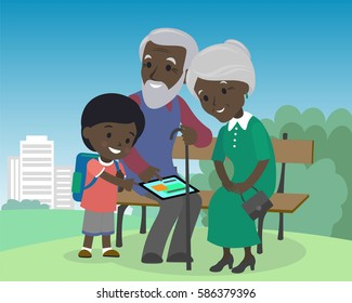 Grandson boy teach grandparents use tablet pc. Seniors elderly learning education modern technology internet african indian brown skin grandfather grandmother son vector illustration cartoon