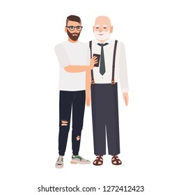 Grandson demonstrating smartphone to his grandfather. Cute smiling elderly man and young guy spending time together. Friendship between granddad and grandchild. Flat cartoon vector illustration.
