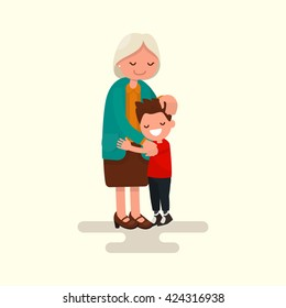 Grandson hugging his grandmother. Vector illustration of a flat design