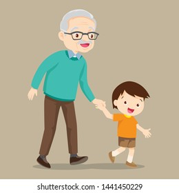 grandson walking with his grandfather,Grandparents and grandchildren.hand in hand.Happy grandparents with their grandchildren taking a walk