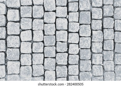 Granite paving blocks square transverse rows.