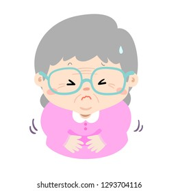Granmother having stomach ache,cartoon style vector illustration isolated on white background.
