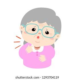 Granmother sore throat because flu disease vector.