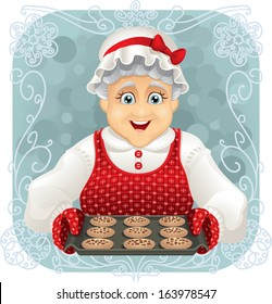 Granny Baked Some Cookies - Vector illustration of a happy granny holding a freshly baked cookies tray. File type: vector EPS AI8 compatible.