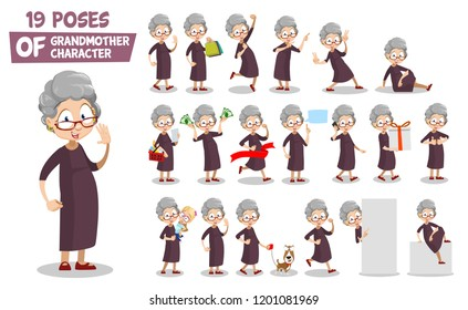 Granny character animated set. Elderly woman talking on mobile phone and shopping. Grandmother holding grandchild and walking with dog. Pointing on blank banner and relax on floor vector illustration