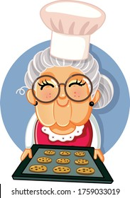 Granny Chef Holding a Tray of Homemade Cookies. Vector illustration a cute granny with a tray of sweets