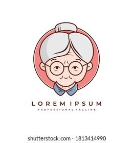 granny or grandmother logo vector icon stock illustration.