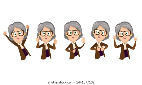 Granny having fun. Set with elderly laughing woman waist deep showing different gestures: thumb up, like, victory, peace, heavy metal, sign of the horns. Vector illustration isolated on white.