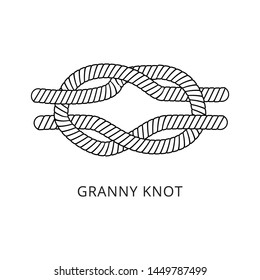 Granny knot for securing a rope, nautical string looping craft, twisted marine cord with double loop, black and white hand drawn vector illustration isolated on white background