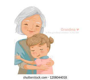 Granny and niece are hugging each other. smiling happy. Family relationship the concept of insurance for seniors and their children's education. Card design  Pictures and messages instead of love.