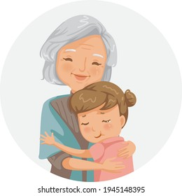 Granny and niece are hugging each other. Grandmother and granddaughter smiling happy. Family relationship  seniors and their children's Illustration for grandma and the elderly day.