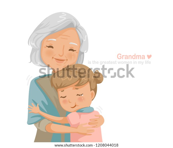 Granny Niece Hugging Each Other Smiling Stock Vector Royalty Free 1208044018