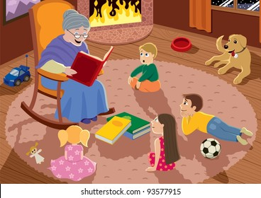 Granny is reading fairy tales to her grandchildren.