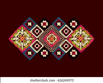 Granny square. Decor for clothes. Trendy pattern. Knitted wear. Folk art motif with flowers. Vector illustration