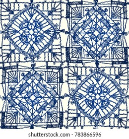 Granny square. Seamless pattern crochet. Pattern crochet. Knitted wear. Folk art motif with flowers. Vector illustration