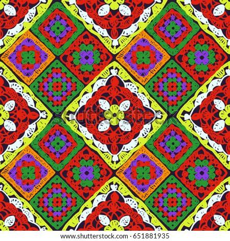 Granny Square Seamless Pattern Crochet Pattern Stock Vector Royalty