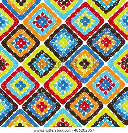 Granny Squares Pattern Ripples Afghan Crochet Stock Vektorgrafik