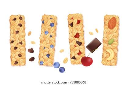Granola bars isolated on white. Vector illustration