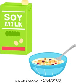 Granola in a bowl and soy milk in a pack