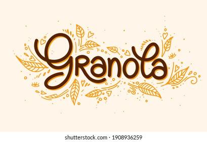 Granola vector logo. Muesli. Handmade calligraphy. Lettering, leaves with decorative elements. illustration healthy concept logotype. oatmeal porridge
