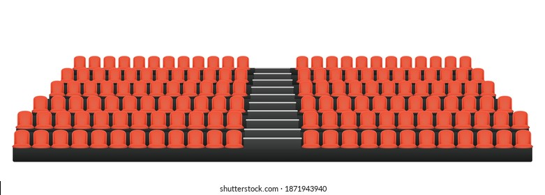Granstand stadium seat isolated on white background.Graphic vector