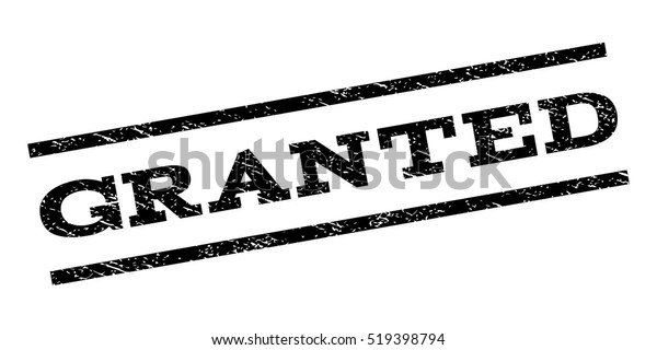 Granted Watermark Stamp Text Tag Between Stock Vector