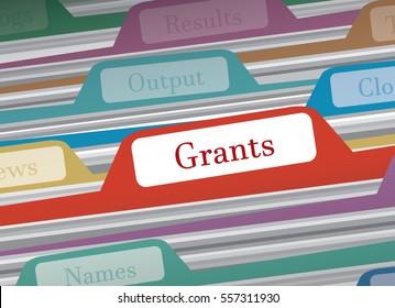 Grants folder in file folders personal finance, vector illustration