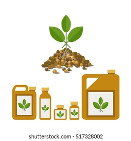 Granulated and liquid fertilizers, vector illustration