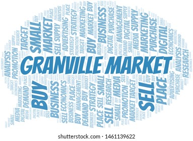 Granville Market word cloud. Vector made with text only